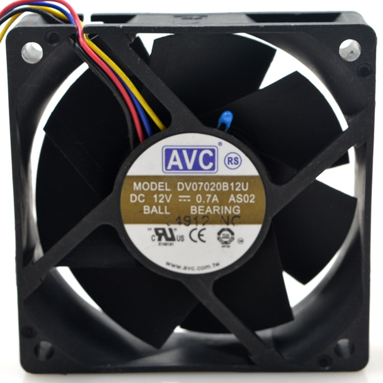 AVC DV07020B12U DC12V 0.7A ball bearing server inverter cooling fan