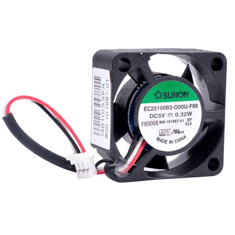 Sunon EC25100B3-Q00U-F99 DC5V 0.32W 3lines quiet small cooling fan
