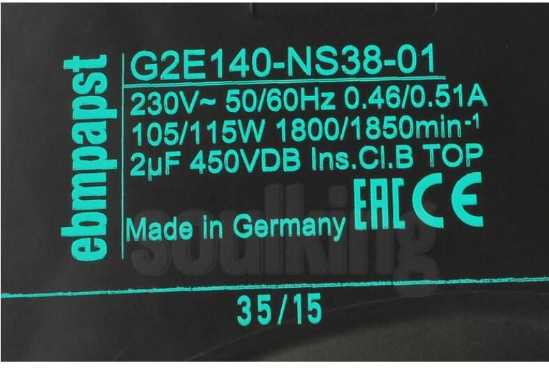 ebmpapst G2E140-NS38-01 AC 230V 0.46A 0.51A 140x140mm Turbo centrifugal Fan