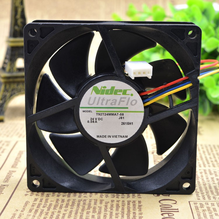 Nidec T92T24MMA7-58 DC24V 0.08A 4-Wires Ball Bearing Inverter Cooling Fan