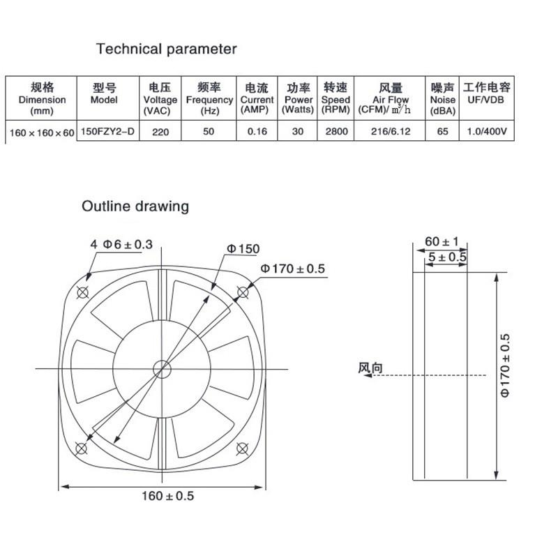 150FZY2-D AC220V 30W 0.16A Electric Box Axial Flow Cooling Fan