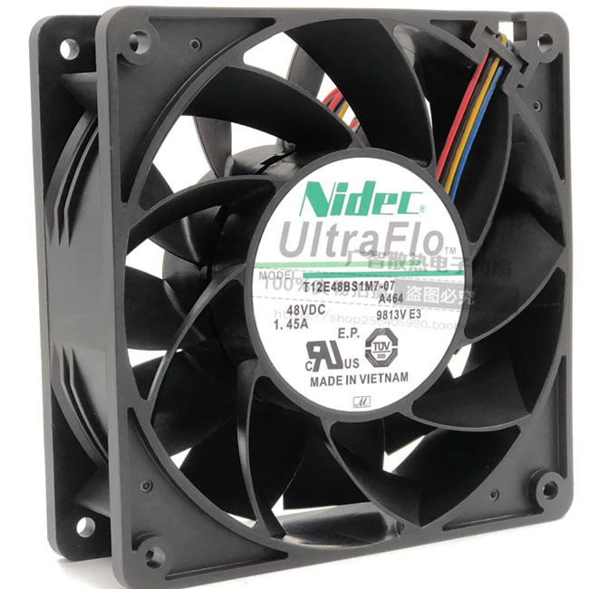 Nidec T12E48BS1M7-07 DC48V 1.45A 4-wires cooling fan